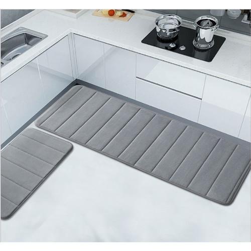 Foto Produk Memory foam mat set/Keset Kaki Rumah Dapur Pintu Kamar Anti Selip - Abu-abu dari summerlilyshop