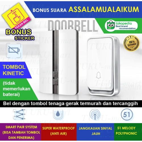 Foto Produk Bel Rumah Wireless Door Bell Waterproof Pintu tanpa baterai dari Tuku-Mart