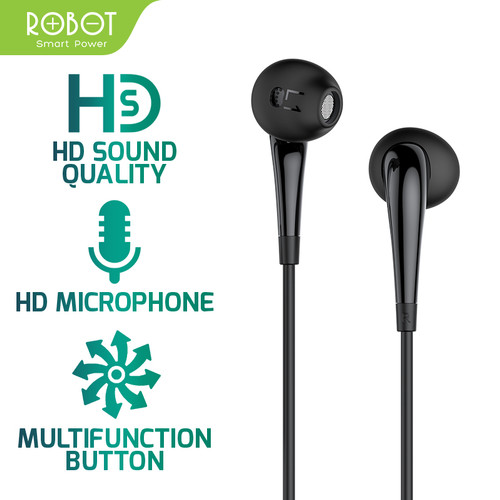 Foto Produk ROBOT Earphone/Headset Android/iPhone Garansi Resmi 1 Tahun - RE701 - Hitam dari Robot PC Official Store