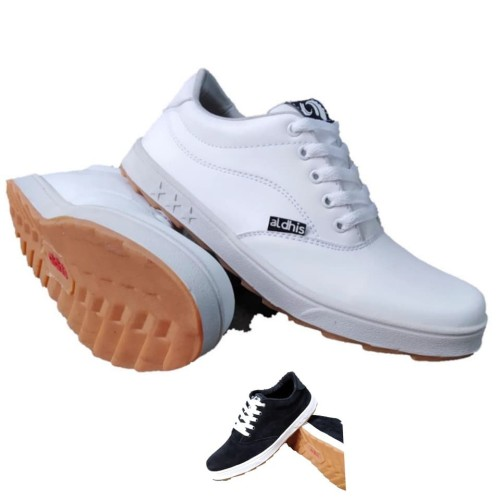 Foto Produk Sepatu Pria Putih Polos Aldhis Sneakers Terbaru Kets full white - Hitam, 39 dari aldhis shoes
