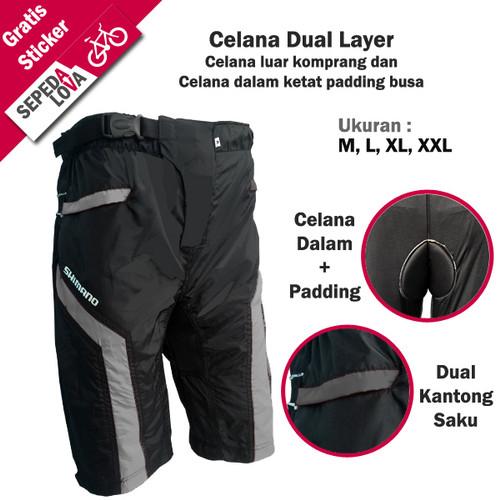 Foto Produk Celana Sepeda Komprang Selutut 2in1 Dual Layer Padding Busa Abu - L dari SepedaLova