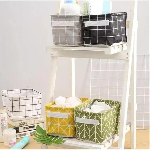Foto Produk Desktop Storage Box / Kotak Penyimpanan Kanvas Serbaguna Nordic Style - Abu-abu dari Zakka Store