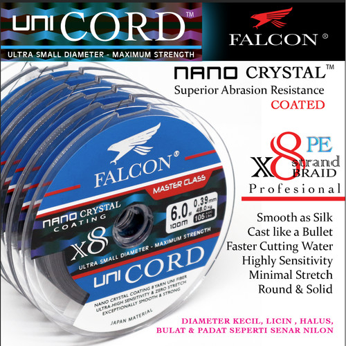 Foto Produk Senar Pancing PE X8 Falcon Uni Cord Nano Crystal Coated 100M Connectin - Hitam, PE 3.0 dari Falcon Indoesia