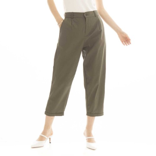 Foto Produk Kama Linen Pants in Army Beatrice Clothing - Celana Bahan Wanita dari Beatrice Clothing