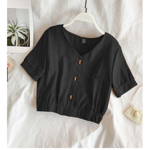 Foto Produk RisRus Apparel Baju Crop Wanita Lengan Pendek Atasan Cewe Cewek Zoya - Hitam dari RisRus Apparel