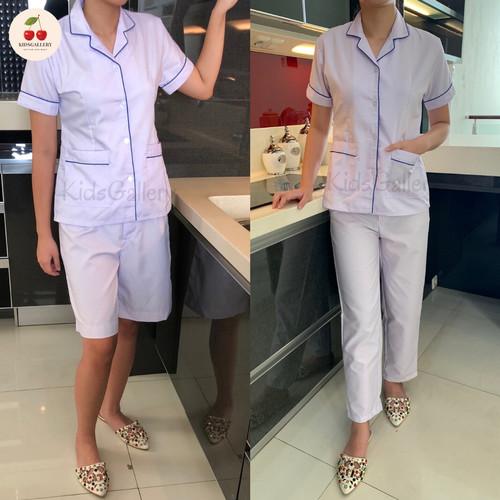 Foto Produk Baju seragam suster/ baju baby sitter/ baju nanny (lis biru) - S, Kulot dari KidsGallery