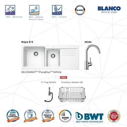 Foto Produk BLANCO Naya 8S Silgranit + BLANCO MIDA Chrome Mixer Taps - Putih dari BLANCO Official Store