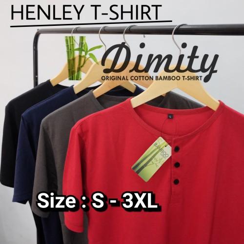 Foto Produk kaos henley polos Katun Bambu Lengan Pendek Cotton Bamboo t-shirt - Hijau Botol, S dari DIMITY