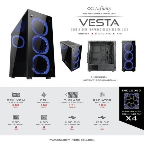 Foto Produk Casing Infinity Vesta + 4 Fan Blue - CASING GAMING, CASE GAMING dari GoodsTechID