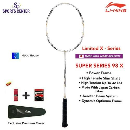Foto Produk New Limited X Series Raket Badminton Lining Super Series SS 98 X White dari Sports Center