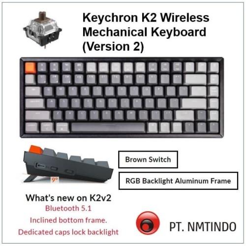 Foto Produk Keychron K2 version 2 Brown Switch RGB Backlight Aluminum Frame dari PtNmtindo