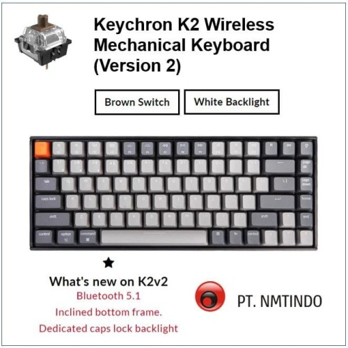 Foto Produk Keychron K2 version 2 Brown Switch White Backlight Plastic Frame dari PtNmtindo