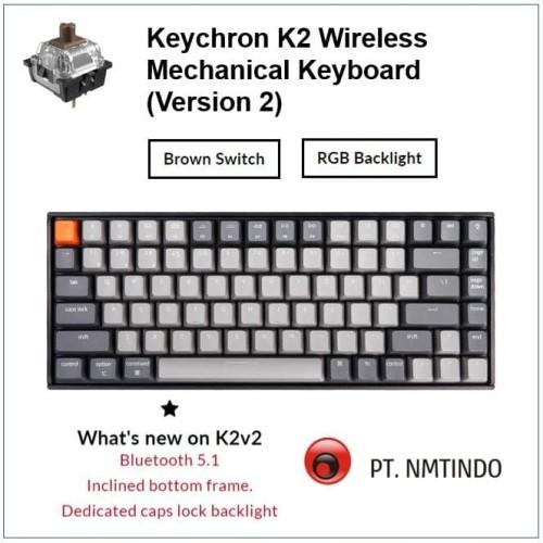 Foto Produk Keychron K2 version 2 Brown Switch RGB Backlight Plastic Frame dari PtNmtindo