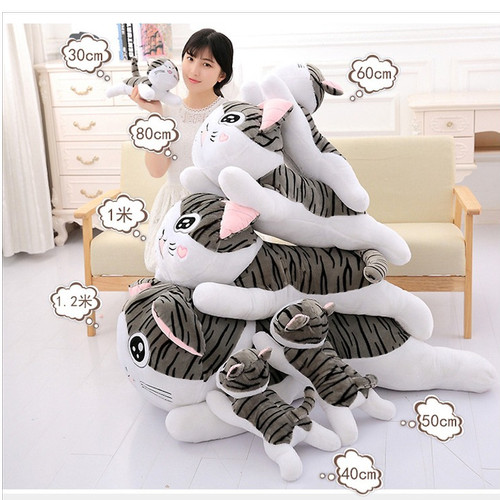Foto Produk Boneka Cat Chi Boneka Kucing Lying mio cat grey Bahan Plush Super Soft - 30 dari happykidsolshop