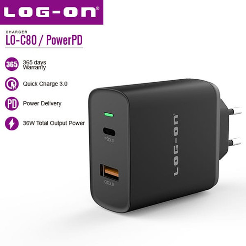 Foto Produk Log On PowerPD LOC8 Charger Quick Charge 3.0 Power Delivery total 36W - Hitam dari Log-on Official Store