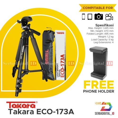 Foto Produk TAKARA ECO-173A Lightweight Tripod With Pouch/Tas/Bag, Holder Satoo dari serbadigital-id