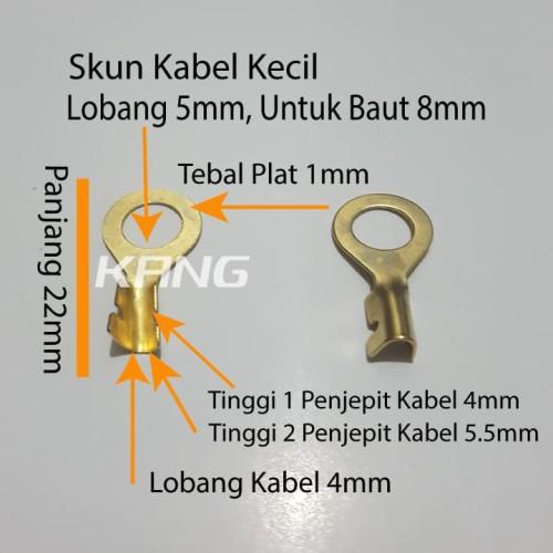 Foto Produk skun sekun terminal ring bulat kuningan lobang 5mm baut 8 kabel kecil dari Kangairbrush