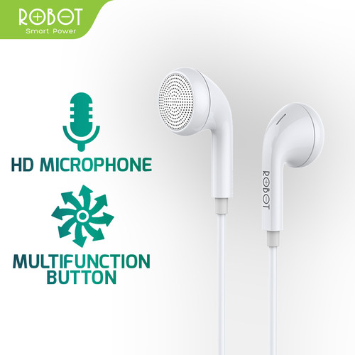 Foto Produk ROBOT Earphone/Headset Android/iPhone Garansi Resmi 1 Tahun - RE601 - Putih dari ROBOT OFFICIAL SHOP