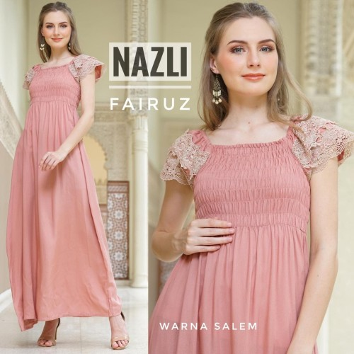 Foto Produk daster arab/india/dubai/turki fairuz nazli polos dress busui renda dari murmershops & fashion
