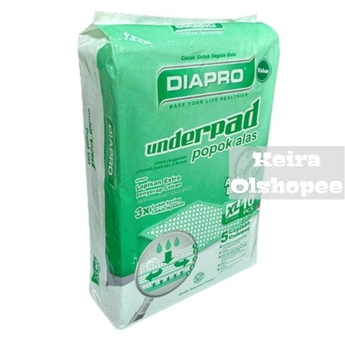 Foto Produk Diapro Value Underpad 10 Sheets Size XL dari Keira Olshopee