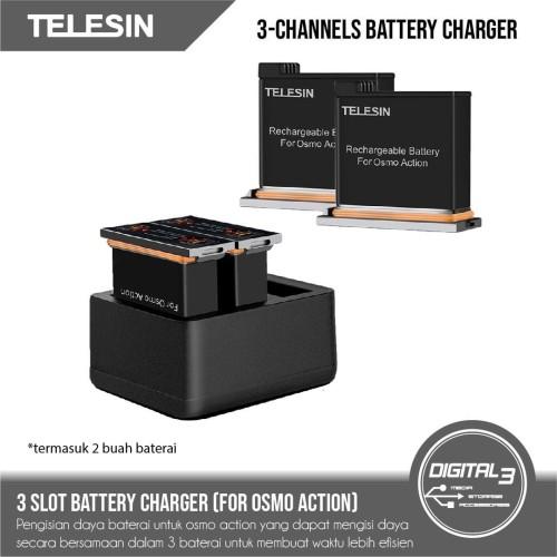 Foto Produk Telesin 3 Channels Charger Batteries Set DJI Osmo Action Baterai dari digital 3