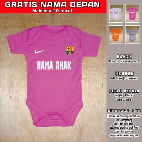 Foto Produk Baju Bola Bayi Romper Bayi Jumper Bayi BARCA Pink Tua GRATIS NAMA dari Om Joe Shop