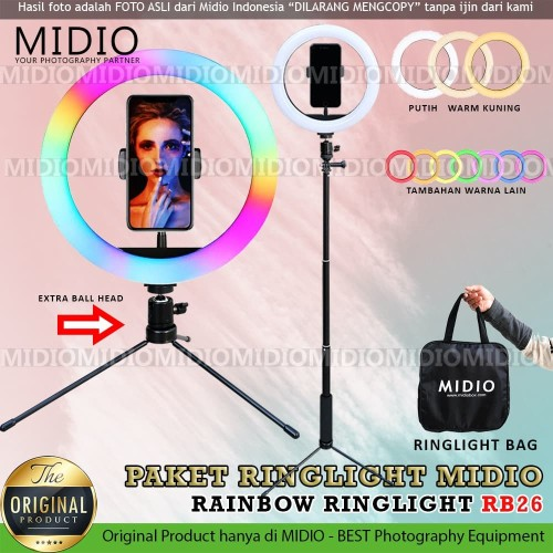 Foto Produk Ring Light Rainbow Midio RB26 Plus Tongsis Ring Light RGB Video LED dari Midio