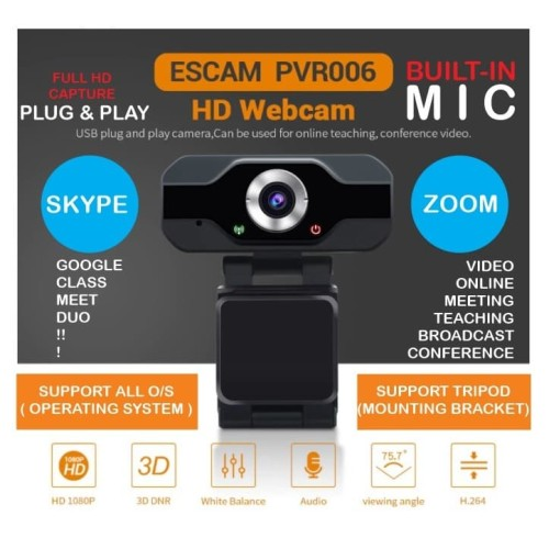 Foto Produk WEBCAM Full HD PC Laptop Online Teaching - USB MIC 2MP - ESCAM PVR006 dari EtalaseBelanja
