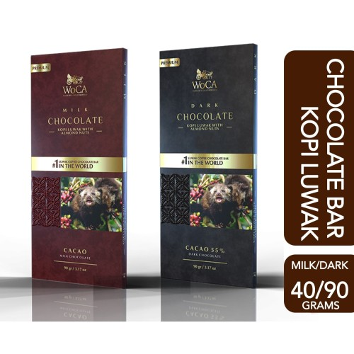 Foto Produk WoCA Kopi Luwak Premium Chocolate Bar Dark or Milk - 40 gram,milk chocolate dari Arutala Online Co.