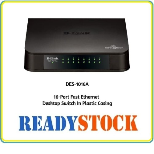Foto Produk DLINK Des-1016A 16-Port Fast Ethernet Unmanaged Desktop Switch Plastic dari READY STOCK JARINGAN