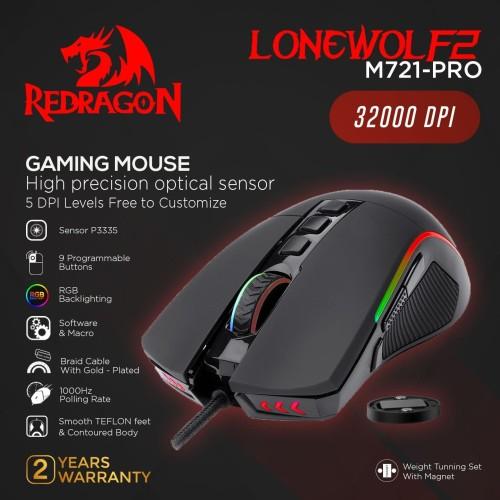 Foto Produk Redragon Gaming Mouse RGB LONEWOLF - M721-PRO dari REDRAGON INDONESIA