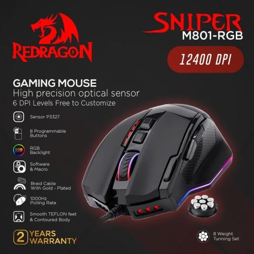 Foto Produk Redragon Gaming Mouse RGB SNIPER - M801-RGB dari REDRAGON INDONESIA