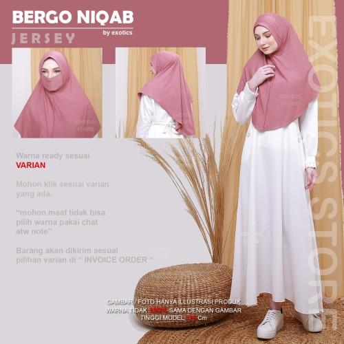 Foto Produk Niqab Masker Jersey Niqob Cadar Jilbab Hijab Instan Safety Mask - Hitam dari exotics-store
