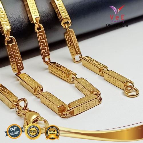 Foto Produk Kalung Titanium Emas motif Asli Batangan 75cm - VeE Kalung Pria Wanita dari Vee Jewelry