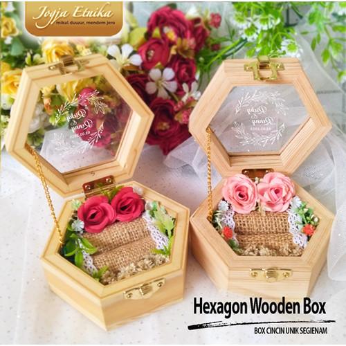 Foto Produk Kotak Cincin Unik Segi 6 / Ring box / Box Cincin / Mahar Kayu - Tanpa Nama dari Jogja Etnika