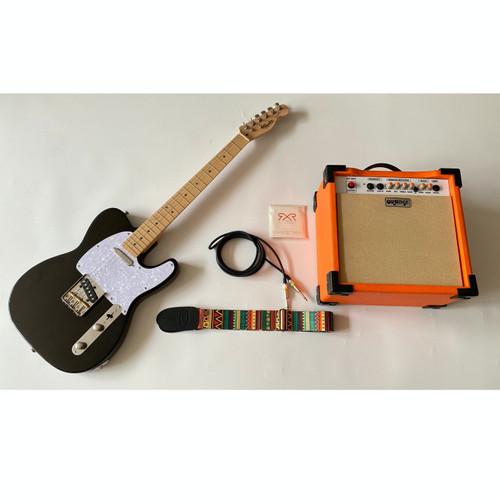 Foto Produk Gitar Fender Telecaster Hitam Paketan Ampli Orange , Kabel & Strap dari faisalkarokaro