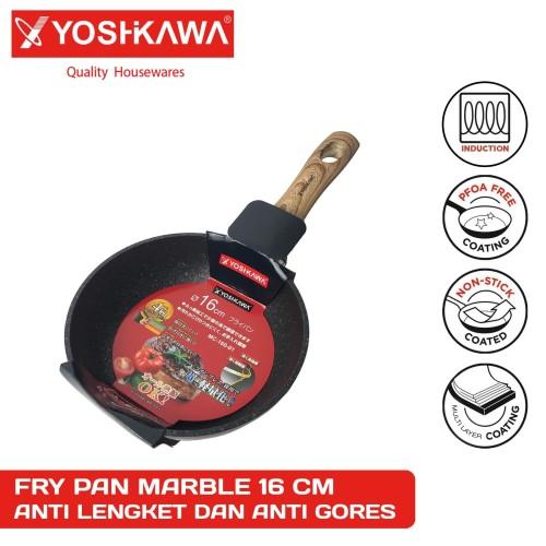 Foto Produk YOSHIKAWA Panci Ceramic Penggorengan Fry Pan Marble 16 CM EVL-MC-160-1 dari Extra Value Living