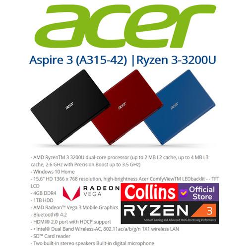 Foto Produk LAPTOP GAMING ACER A315-42- RYZEN 3-3200U|4GB|1TB|Radeon Vega 3|W10 dari Collins Official