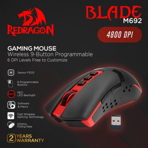 Foto Produk Redragon Wireless Gaming Mouse BLADE - M692 dari REDRAGON INDONESIA