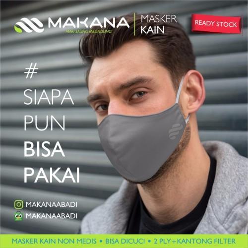 Foto Produk Masker Kain Makana Dewasa Abu Tua dari makanaabadi