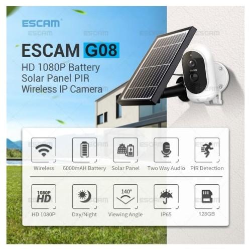 Foto Produk IP Cam AC/DC FullHD PIR - REC CLOUD/TF TALK IR - ESCAM G08 SOLAR PANEL dari EtalaseBelanja