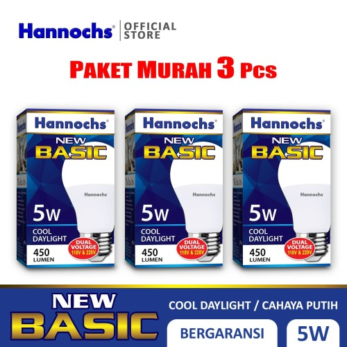 Foto Produk Hannochs - Lampu LED New Basic - 5 watt - Cahaya Putih (Paket 3 PCS) dari Hannochs Official Store