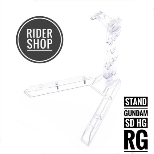 Foto Produk Stand base figure Gundam ukuran SD HG RG 1/144 transparan standbase dari alfian rider shop