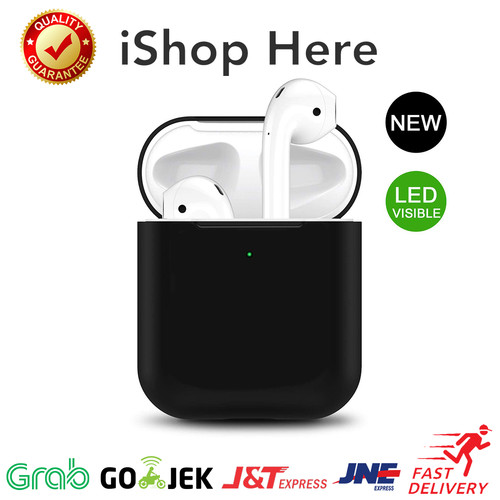 Foto Produk Apple AirPods 1 2 Silicon Case Pouch LED Visible | Casing Airpod LED - Hitam dari iShop Here