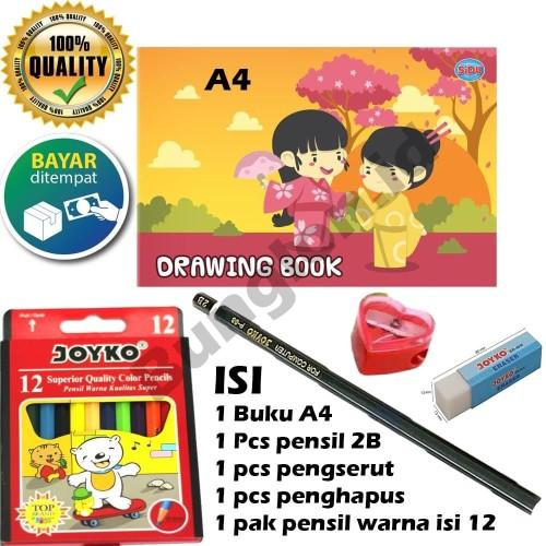 Foto Produk Paket menggambar / paket mewarnai / buku gambar / pensil warna / MURAH dari Bunglon.id