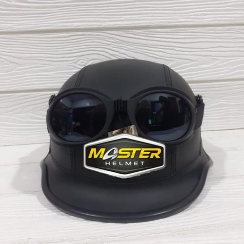 Foto Produk HELM RETRO BOGO CLASSIC MODEL NAZI KULIT + FREE KACAMATA - BLACK - COK dari Master Helmet