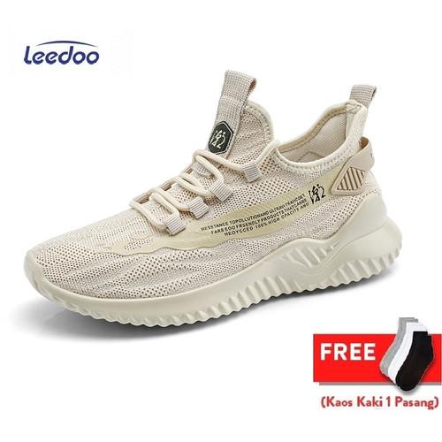 Foto Produk Leedoo Sepatu Sneakers Pria Sepatu Kasual Mesh Breathable MR119 - Coklat, 39 dari Leedoo