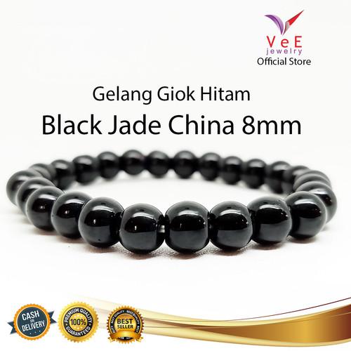 Foto Produk Gelang Batu Giok China Asli Hitam - VeE Gelang Pria Wanita Kesehatan - 8mm dari Vee Jewelry