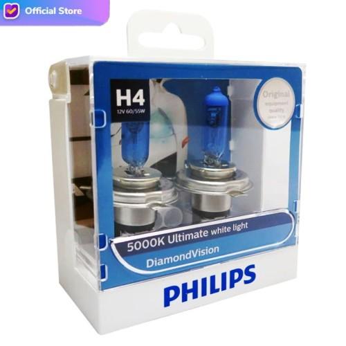 Foto Produk Philips Diamond Vision 5.000K H4 Bohlam Lampu Mobil Putih dari Depo Oto