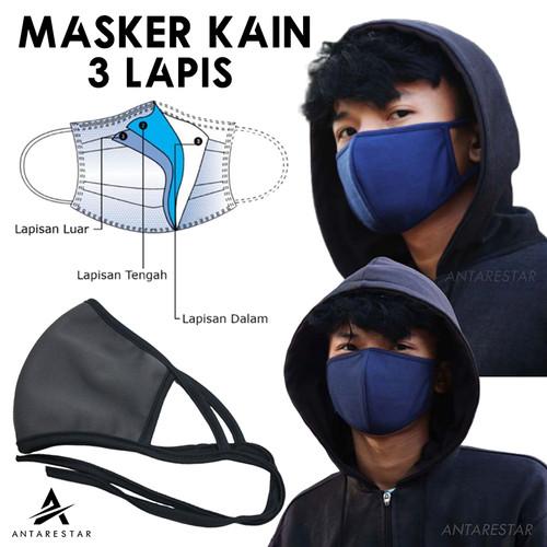 Foto Produk Masker Kain Anti Polusi Masker Jilbab Kain Tali Pengikat Praktis Kuali dari Antares Star
